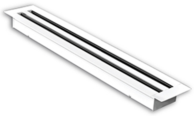A linear slot diffuser is popular in contemporary homes and usually appears as a long narrow rectangular slot that is mostly semi-concealed in a fixed or suspended ceiling. Linear slot grilles may be single or contain a different number of slots in white and anodised silver finishes.