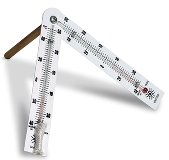 Sling Psychrometer used to measure relative humidity.